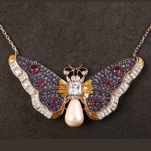 Amethyst pearl & ruby butterfly necklace
